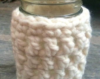 Mason Jar Cozy Jacket in Chunky Crochet THE KEENE Drink Holder
