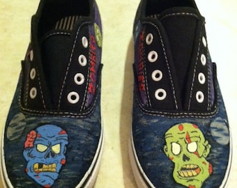 Zombie theme hand painted shoes