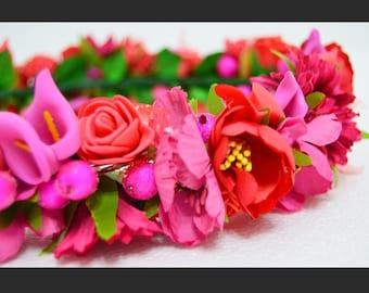 """Artificial flower pink head crown """"Bloom"""""""