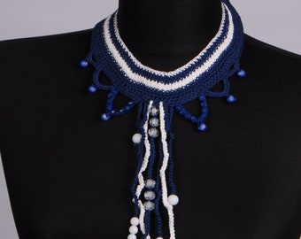 CLEARANCE SALE Knit Tassel Necklace,Blue necklace,Any occasion necklace,Crochet bib,Crochet jewelry.One Only,Unique Necklaces For Women,Gift