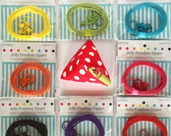 Lecien Jelly Freedom Zipper, sliders and triangle purse pattern - by the zipper 1 per package - choose a color