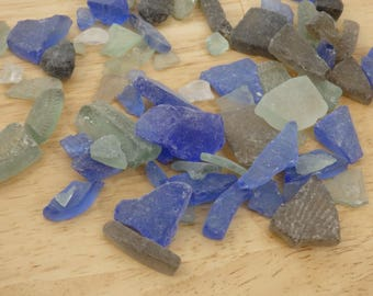 "Mixed Color ""Sea Glass"" Tumbled Frosted Glass  (aquarium fish tank mosaic craft decor Multi-color Rainbow beach broken brown blue green)"
