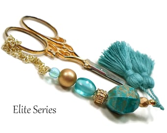 Turquoise Scissor Fob, Scissor Keeper, Turquoise Gold, Scissor Minder, Quilting Accessory, Cross Stitch, Needlepoint,Sewing, Tassel
