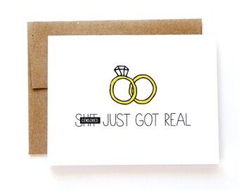 Engagement Card - Wedding Announcement - Sh-t Just Got Real - Mature