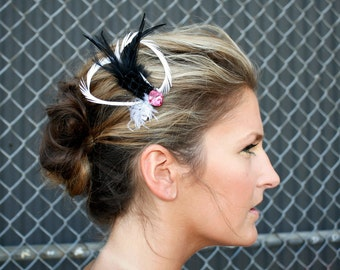 Feather Barrette Pink Swarovski Jewel Crystal, French Veil, and Curled Goose Biot Feathers