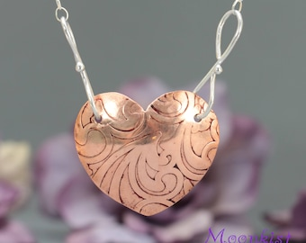 Copper Heart Pendant, Textured Copper Heart, Mixed Metal Pendant Necklace, Copper and Silver Necklace, Anniversary Gift, Gift for Her