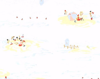 Heather Ross - Munki Munki Fabric - Beach on Poplin - OOP Out Of Print - Very Hard To Find Rare