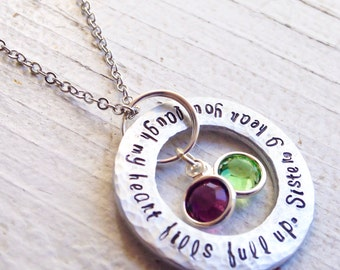 Sister I Hear You Laugh My Heart Fills Full Up Birthday Sisters Gift Necklace Washer wedding Names gift quote pendant swarovski bff