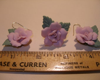 Pink Porcelain Brooch and Earring Set(398)