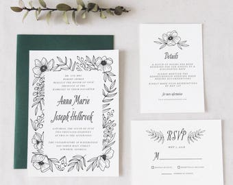 Printable Black and White Floral Wedding Invitation Suite // Modern Floral // Boho // Anemone Invitation // DIY Bride // Calligraphy