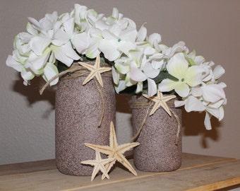 Beach mason jar table centerpieces Beach bridal shower decorations  Wedding centerpiece Beach decor Starfish decor Coastal beach decor