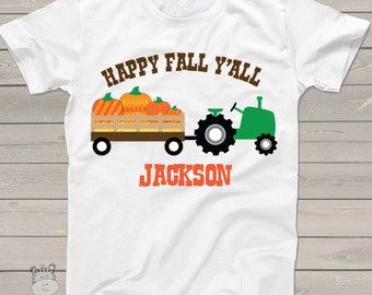 funny - fall y'all tractor kids personalized shirt - Adorable custom and personalized tractor t shirt HFYTPT
