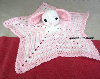 """Cuddly pink and White Star crocheted """"Little rabbit"""""""