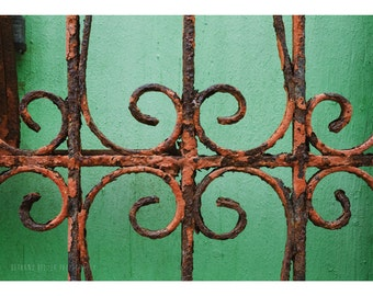 Architecture Photography Old San Juan Puerto Rico Travel Photography Abstract Photograph Green Home Decor Minimalist Fine Art 5x7 Print
