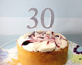 30 cake topper - glitter number 30th birthday cake decoration - pink, silver, gold, black, blue, green, turquoise, white - cupcake numbers