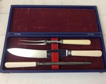 Vintage Meat Carving Set~Sheffield Steel~Cased Set~Carving knife~Sharpening Steel~