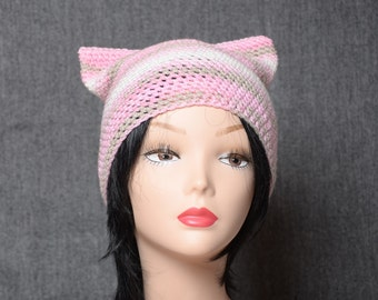 pink cat hat women gift for girlfriend animal hat crochet cat beanie hat cute accessories cat ear hat