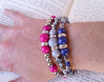 Boho gypsy beaded stretch bracelet set of three, pink, blue, gray,flowers