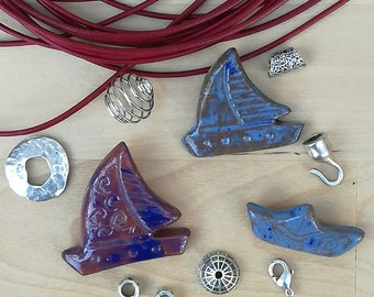 Sailing / Ceramic Boat Necklace, Handmade jewelry, Pendant Handmade,Clay jewelry component for jewelry making