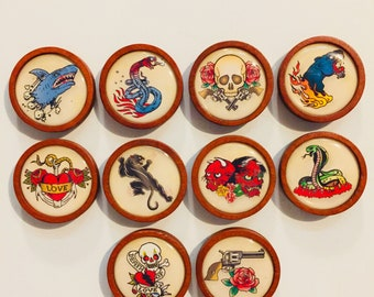 Vintage Tattoo Magnets - Set Of 10 - FREE SHIPPING