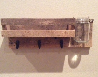 Entry Way Wall Organizer with One Jar/ Command Center / Mail Organizer/ Key Holder