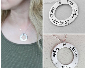 Silver personalized necklace • Silver or Gold-filled option • Simple Eternity mom necklace • Personalized Necklace • Mother Name Necklace