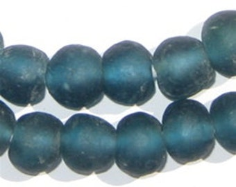 50 Recycled Glass Beads - Teal African Beads - 14mm Round Beads - Fair Trade Necklace - Wholesale - Made in Africa (RCY-RND-BLU-528)