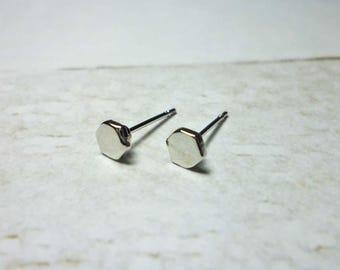 Solid Hexagon Stud Earrings, Dainty Earrings