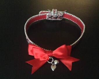Cute silver red choker collar Kitten  play puppy play