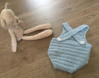 Crochet baby romper bodysuit photo prop dungarees baby boy baby girl newborn 0-3 months 3-6 months 6-9 months baby gift blue pink white