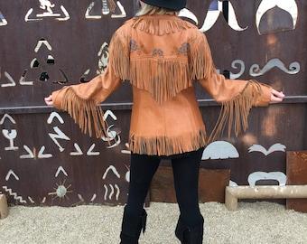 Vintage 1950's 'Chris Line Originals' Cowgirl Jacket | Fringe Leather | Beaded Flowers | Rodeo | Western