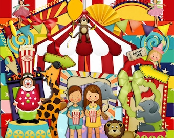 Circus scrapbook, Animal Scrapbook, Fair Scrapbook, Carnival Scrapbook, Instant Download, Digital Scrapbook