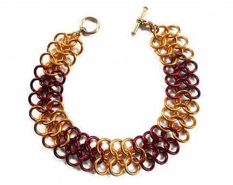 Red and gold mesh bracelet Chainmail bracelet Chainmaille jewelry Red mesh jewelry European 4 in 1 Autumn color bracelet