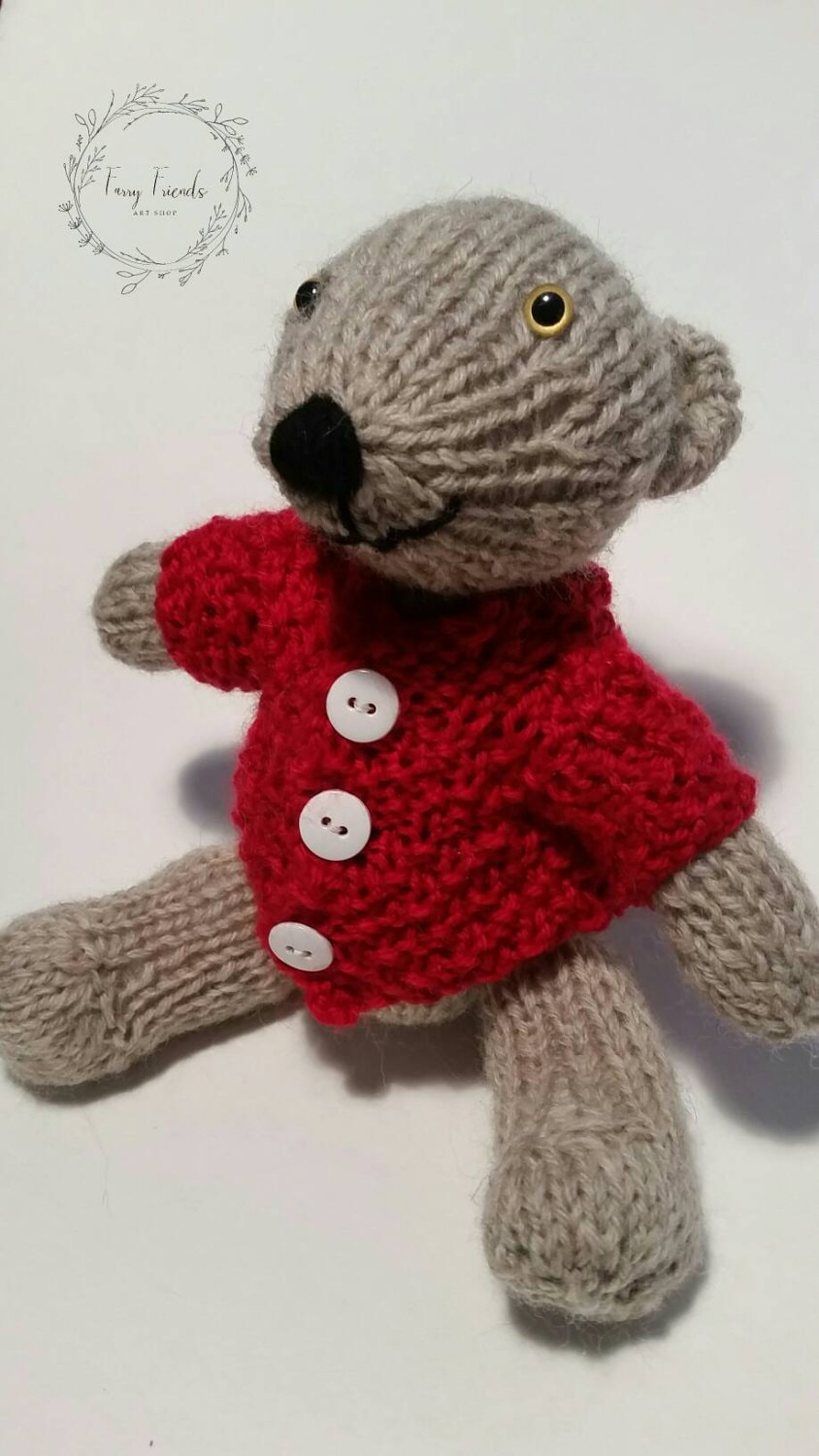 Tommy The Hand Knit Wool Stuffed Teddy Bear With Red Sweater