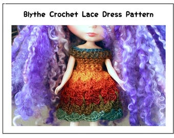 Blythe Crochet Lace Dress Pattern, Blythe Doll Dress Pattern, Blythe Doll Crochet Pattern, Lace Dress Doll Crochet Pattern
