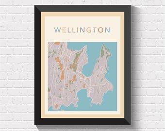 Wellington Map, Wellington Poster, Wellington Print, Map of Wellington, Wellington Street Map, Wellington City Map, Wellington Art