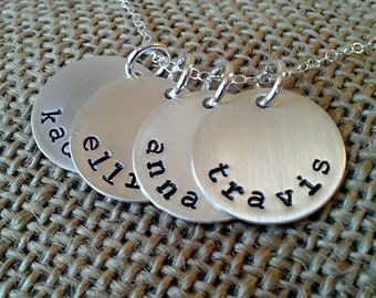 Personalized Mom Name Necklace, Grandma Necklace, Family Necklace, Kids Names Necklace, Sterling Silver Grandkids Necklace, Stamped Evermore