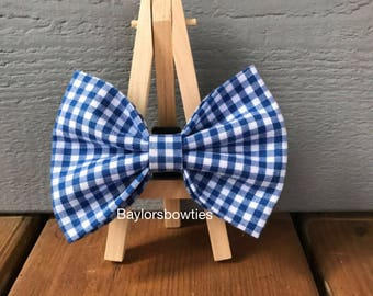 Medium Blue Gingham Dog Bow Tie