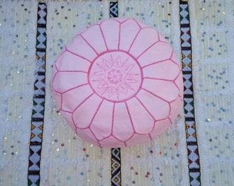 Pink pouf Moroccan pouf ottoman Leather pouf Leather ottoman Round pouf fushia pouf Luxury pouf Pink ottoman