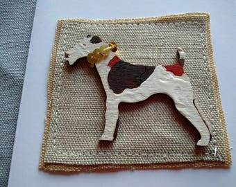 Fox Terrier with smart collar, greetings card
