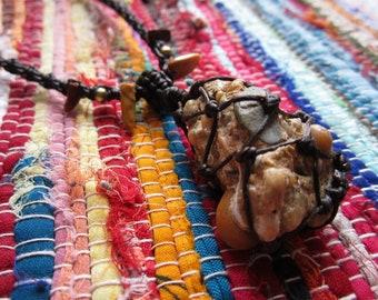Macrame Necklace from Mookite Jasper & NZ Beach Stone