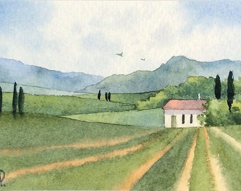 Original watercolor ACEO painting - Italian farm