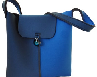 Neoprene blue pouch with glass pendant