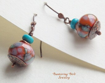 Coral Lampwork Earrings with Genuine Turquoise, Southwestern Orange and Blue Glass Beads, Hammered Copper Jewelry
