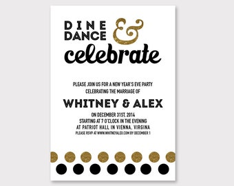 New Year's Eve Party Invitation // Gold and Black Party // DIGITAL DOWNLOAD // Wedding or New Year's Party