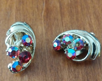 Vintage Red Rhinestone Clip Earrings