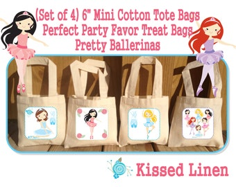 Pretty Ballerinas Birthday Treat Favor Bags Mini Cotton Totes Children Kids Guests Party Favor Treat Gift Bags - Set of 4