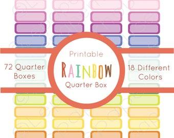 Rainbow Printable Quarter Box, Planner Sticker Set, Erin Condren Life Planner, Instant Download