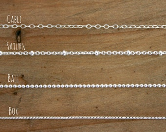Sterling Silver Necklace Chain. Choose your chain. 16 18 20 inch lengths. Cable, ball, saturn finished chains.