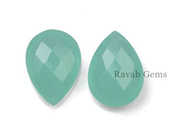 Aqua Chalcedony Briolette - Faceted Pear Shaped Brioettes - Pear 12x16mm To 13x18mm - Faceted Briolette Gemstones -  2 Pcs